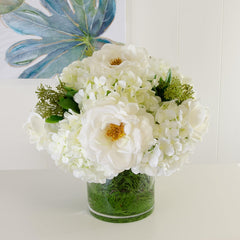 Large Real Touch White Orlane Roses Hydrangea Arrangement - Flovery
