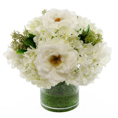 Large Real Touch White Orlane Roses Hydrangea Arrangement