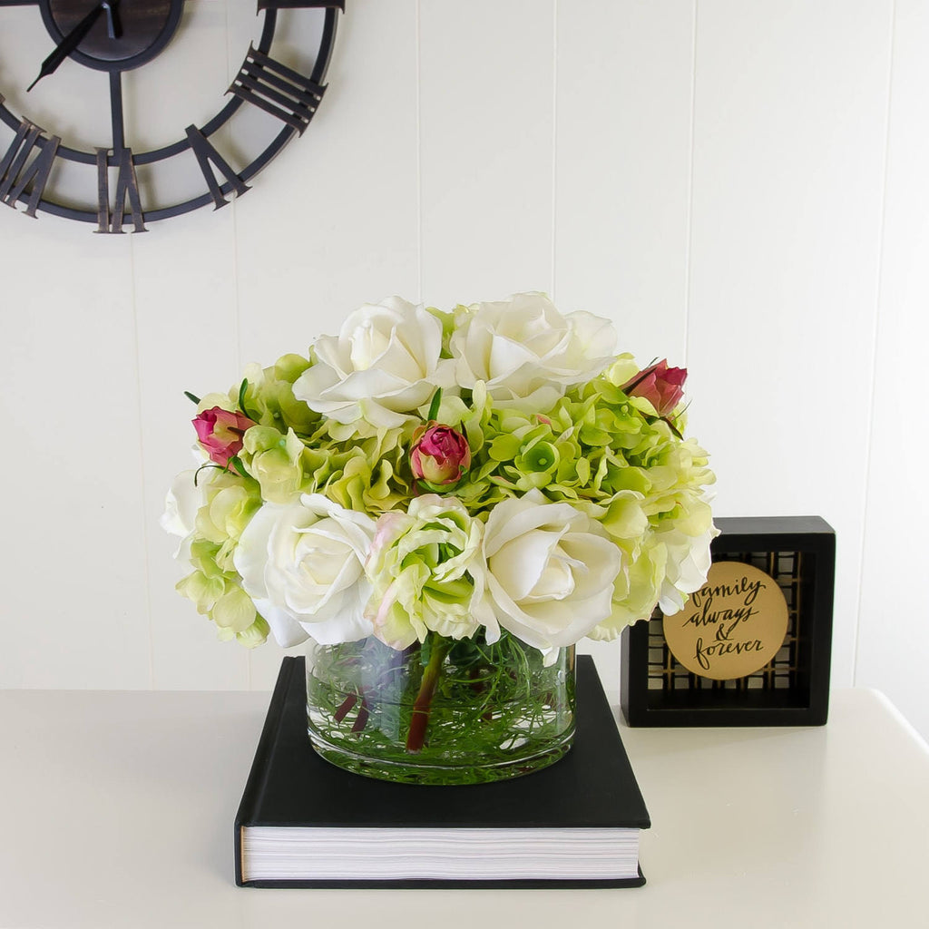 Real Touch Green Hydrangeas White Roses Arrangement Flovery