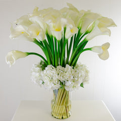 XXL Real Touch White Calla Lily Hydrangea Arrangement