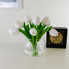 Real Touch White Tulip Round