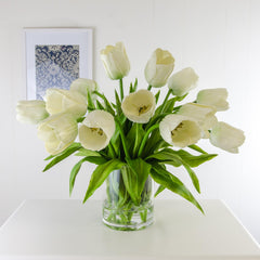 Large Real Touch White Calla Lilies Cylinder Arrangement
