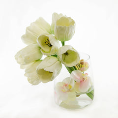 Large Real Touch White Tulips Orchids Oval Arrangement