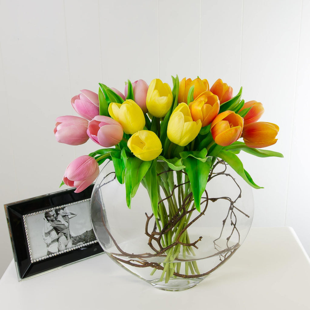 Large Real Touch Yellow Orange Pink Tulips Half Moon Arrangement - Flovery