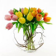 Large Real Touch Yellow Orange Pink Tulips Half Moon Arrangement