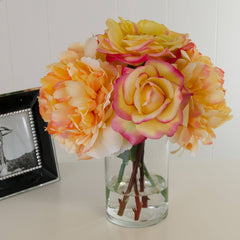 Real Touch Orange Yellow Roses Silk Peonies Cylinder Arrangement