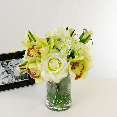 Real Touch Green Hydrangeas White Roses Orchid Arrangement