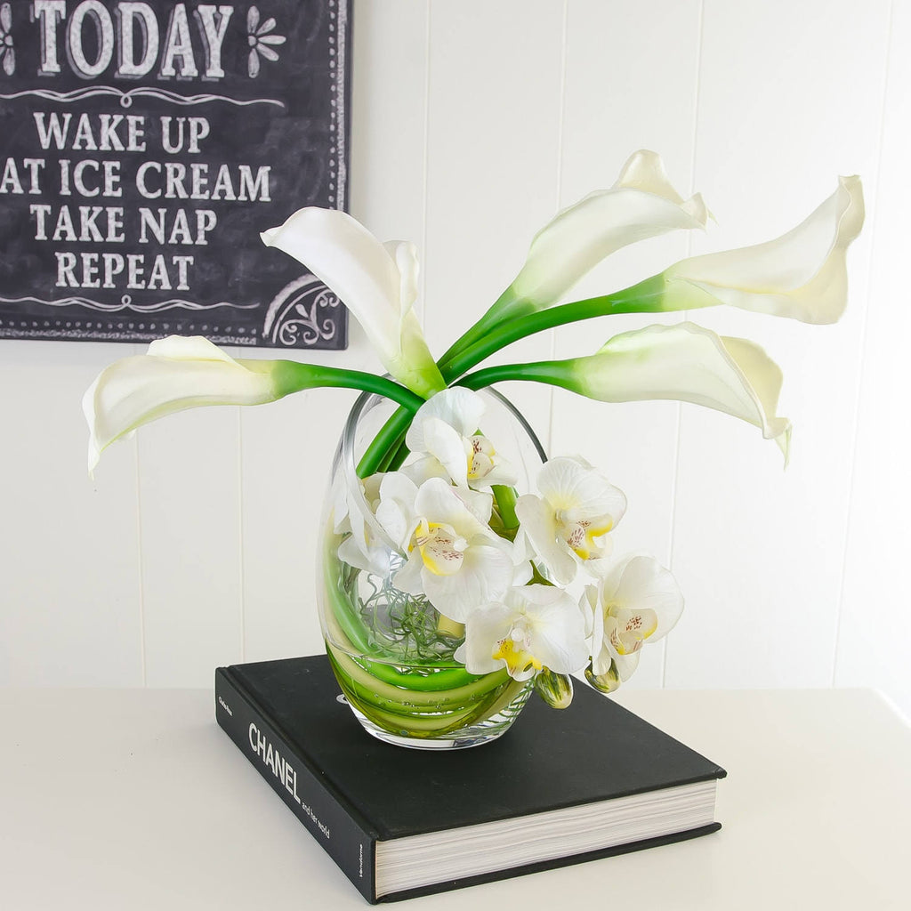 Real Touch White Calla Lilies Orchids Bubble Arrangement - Flovery