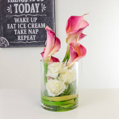 Real Touch Pink Calla Lilies White Roses Cylinder Arrangement