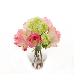 Real Touch Pink Roses Ball Hydrangeas Arrangement