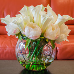 Large White Silk Peony Real Touch Calla Lily Arrangement - Flovery