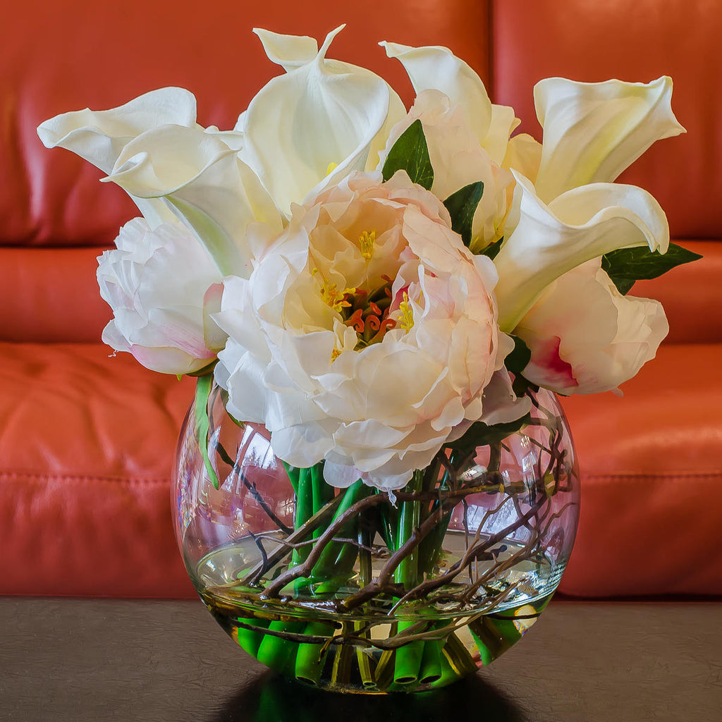 Large White Silk Peony Real Touch Calla Lily Arrangement