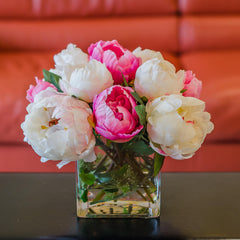 Silk White Light Pink Touched Peony Arrangement - Flovery