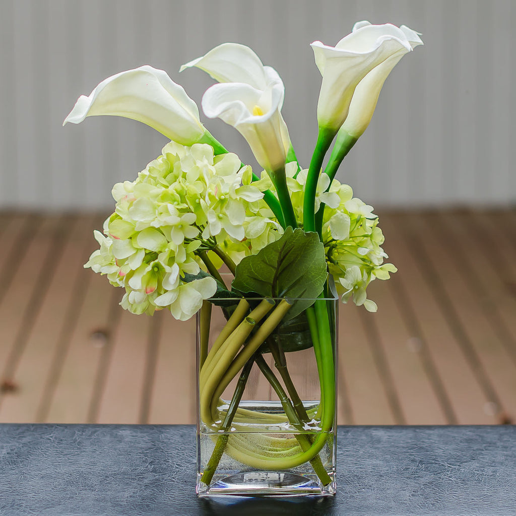 Silk Green Hydrangea With Real Touch Calla Lily