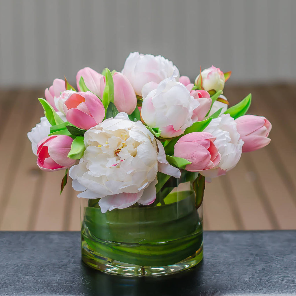 Real touch faux artificial flower arrangements and designs flovery silk white peony real touch pink tulip arrangement mightylinksfo