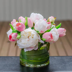 Silk White Peony & Real Touch Pink Tulip Arrangement - Flovery