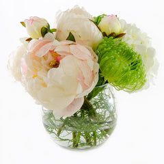 Large Pink Silk Peonies White Hydrangeas Arrangement