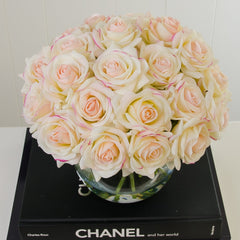 35 Real Touch Ivory Pink Roses Arrangement Bubble - Flovery