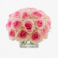 2 Dozens Real Touch Light Pink Roses Arrangement - Flovery
