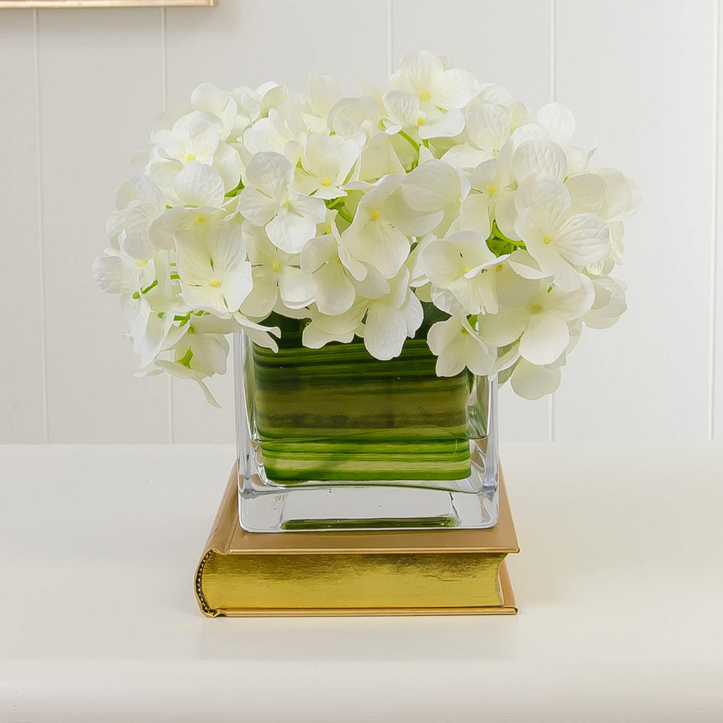 Silk White Hydrangea Arrangement Square