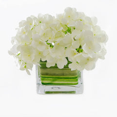 Silk White Hydrangea Arrangement Square - Flovery