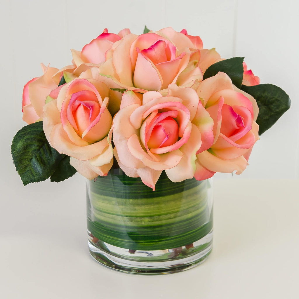 Large Real Touch Orange Rose Greenery Arrangement Round