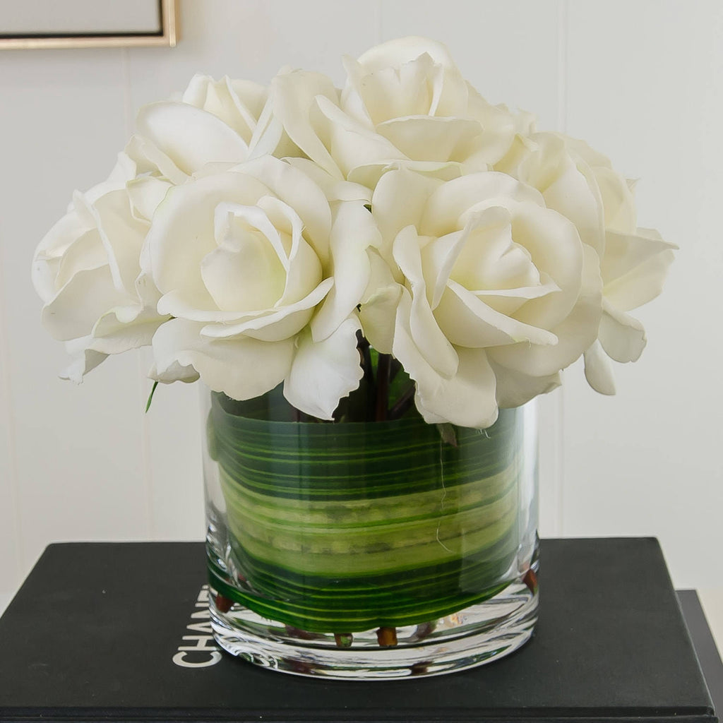Medium White Real Touch Rose Arrangement - Flovery