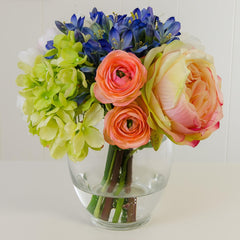 Real Touch Green Hydrangea Colorful Arrangement
