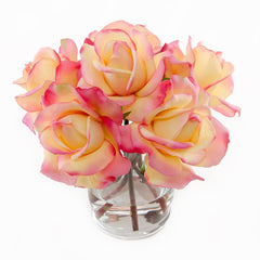 Real Touch Orange Rose Arrangement Cylinder - Flovery
