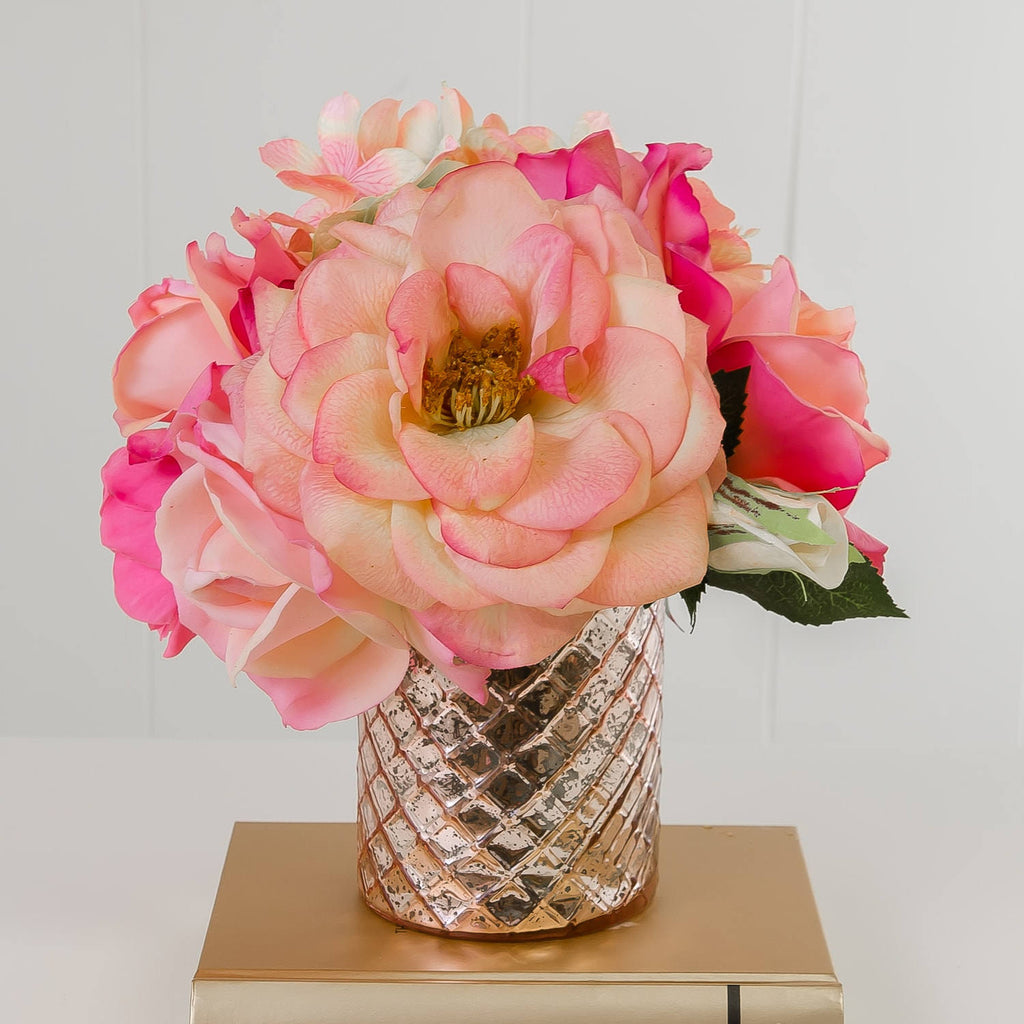 Real Touch Pink Orlane Rose Arrangement Metal - Flovery