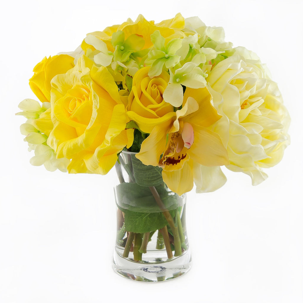 Large Real Touch Yellow Rose Arrangement Peony Hydrangea Flovery