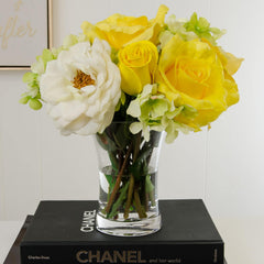 Large Real Touch Yellow Rose Arrangement Peony Hydrangea - Flovery
