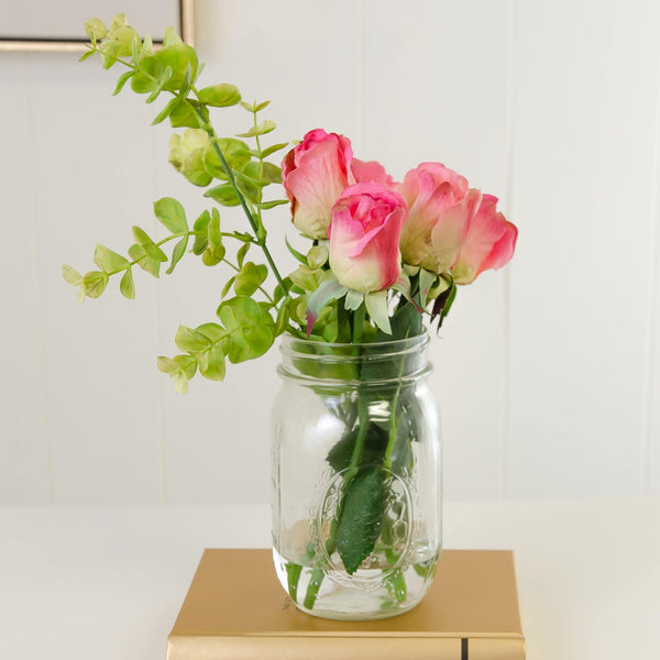 Real Touch Pink Rose Arrangement Mason Jar Flovery