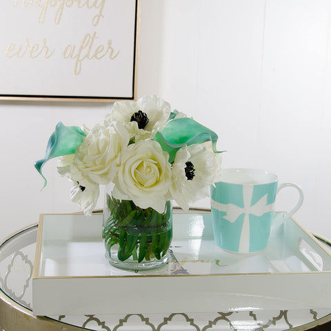 White Real Touch Rose Poppies Tiffany Calla Lilies Arrangement