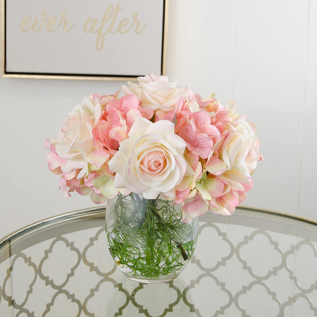 Real Touch Ivory Light Pink Tipped Roses Arrangement Flovery