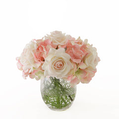 Real Touch Ivory Light Pink Tipped Roses Arrangement