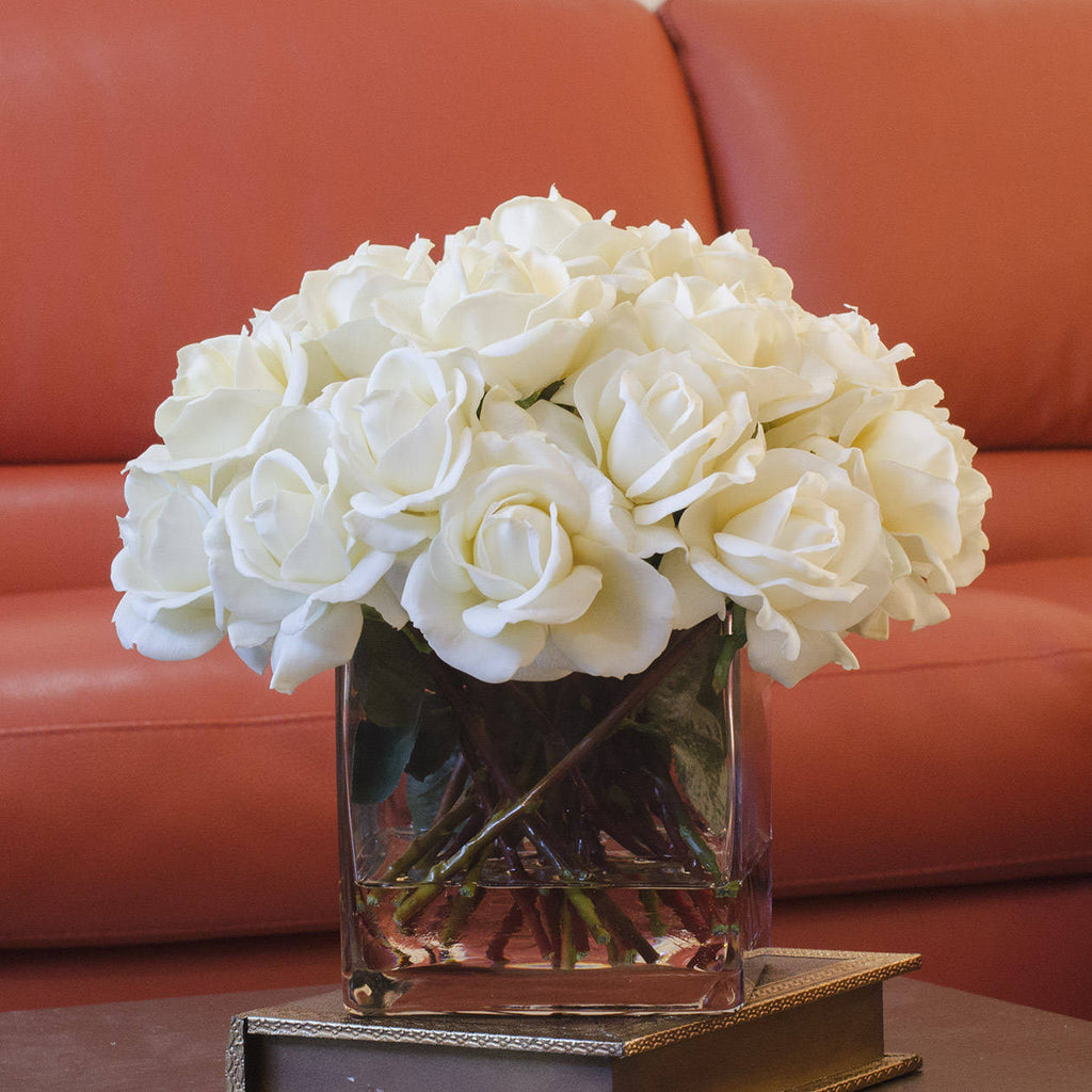 Very Large White Real Touch Rose Square Arrangement