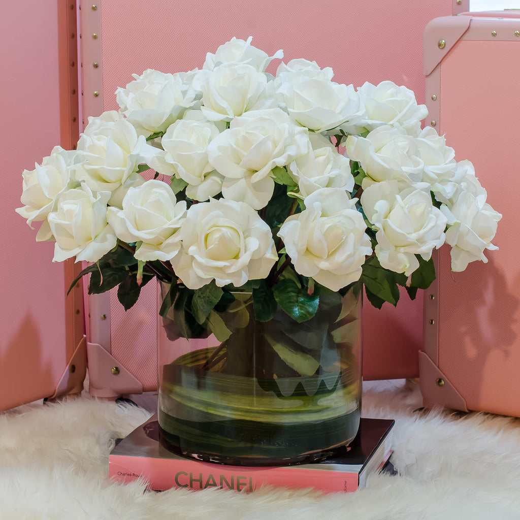 Very Large White Real Touch Rose Cylinder Arrangement