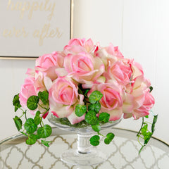 Real Touch Pink Roses Tall Glass Arrangement