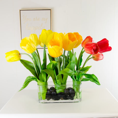 Large Real Touch Yellow Red Tulips Wide Arrangement
