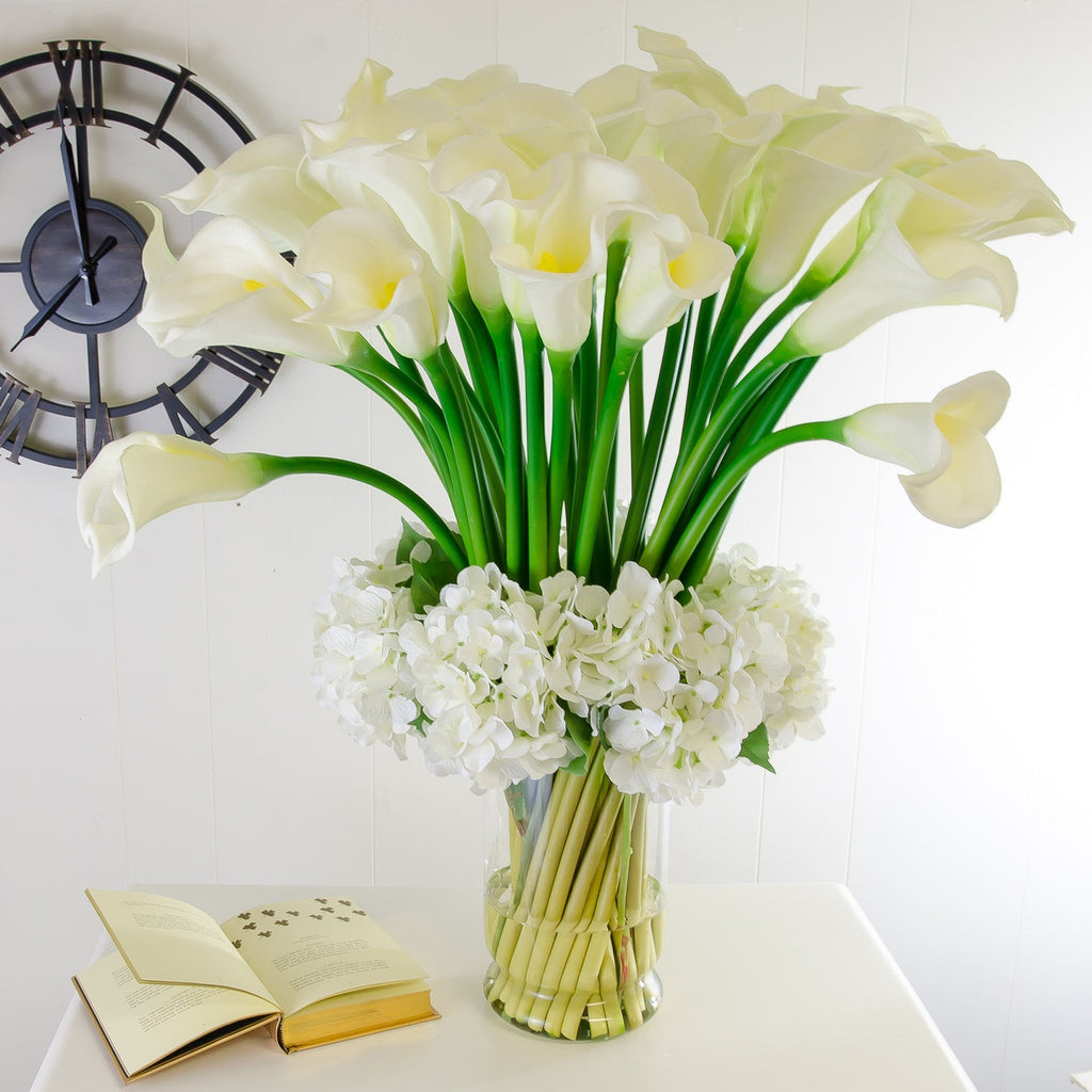 XXL Real Touch White Calla Lily Hydrangea Arrangement - Flovery