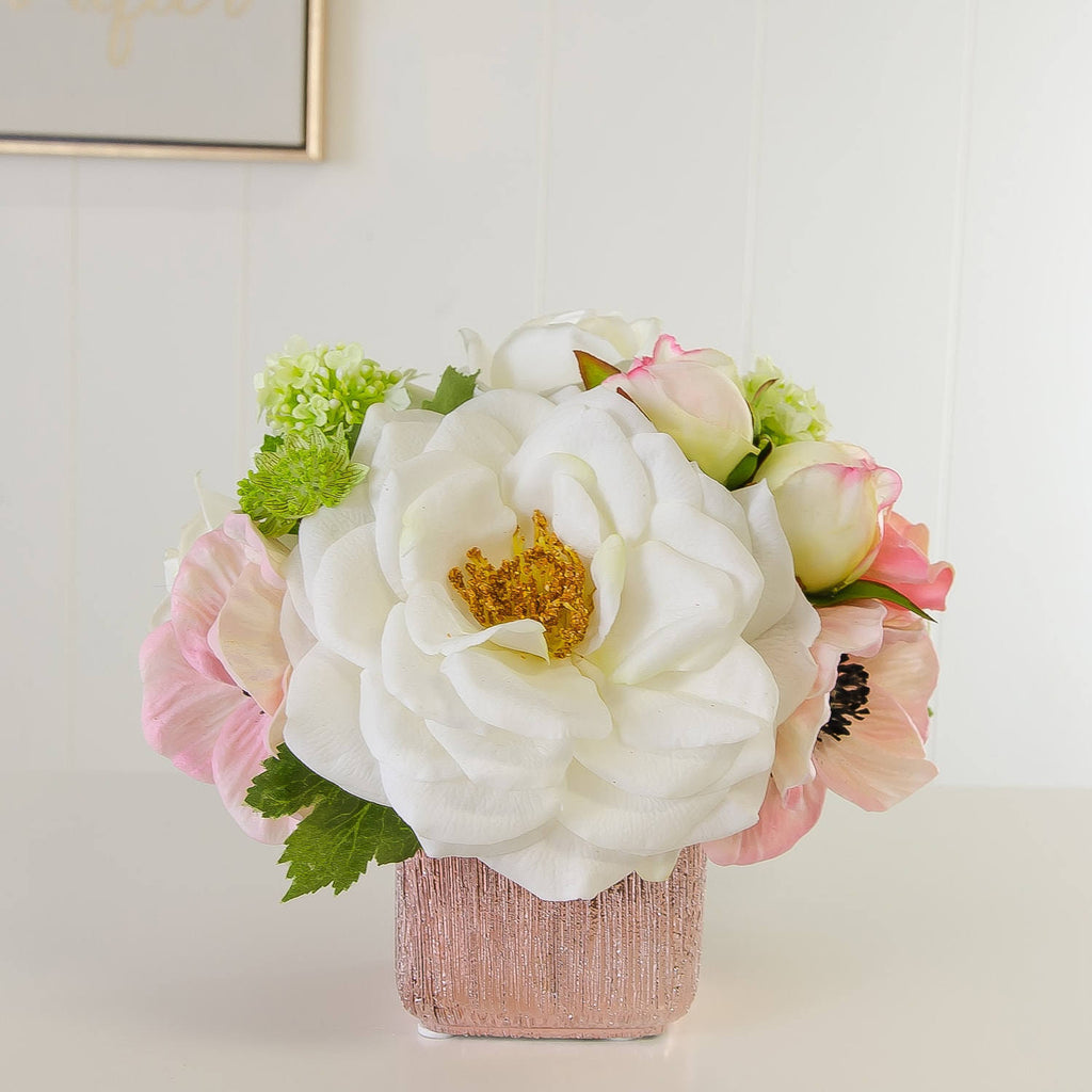 Real Touch White Orlane Roses Poppies Hydrangeas Metal Arrangement