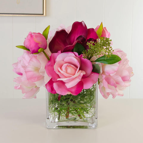Real Touch Pink Roses Red Orchid Silk Peonies Arrangement