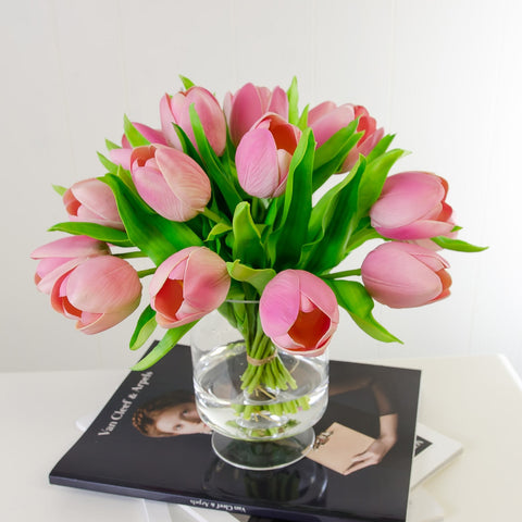 Dozens Real Touch Pink Tulip Foot Arrangement