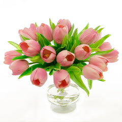 Dozens Real Touch Pink Tulip Foot Arrangement - Flovery