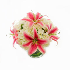 Large Real Touch Casablanca Lily Silk White Hydrangea Arrangement