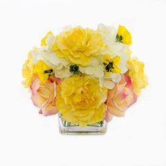 Real Touch Yellow Roses Carnation Hydrangeas Arrangement