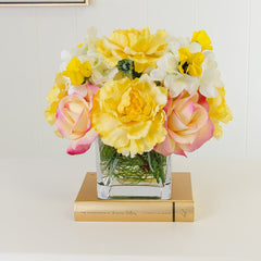 Real Touch Yellow Roses Carnation Hydrangeas Arrangement - Flovery