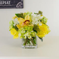 Real Touch Rose Hydrangea Cymbidium Orchid Arrangement