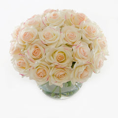 3 Dozens Real Touch Ivory Pink Roses Arrangement Bubble